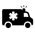 black and white icon of an ambulance